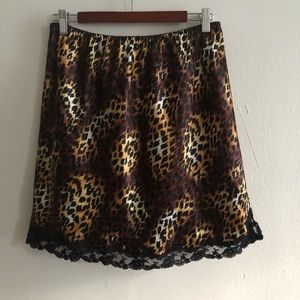 VICTORIA'S SECRET Animal Print & Lace Slip Skirt